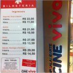 Os preços praticados no Circuito de Cinema Sala de Arte