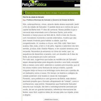 Petição Pública pelo fim da cidade de Salvador